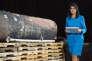 L'ambassadrice américaine aux Nations unies,Nikki Haley, lors de la présentation du missile tiré par les houthistes sur l'aéroport de Riyad, à Washington, le 14 décembre.