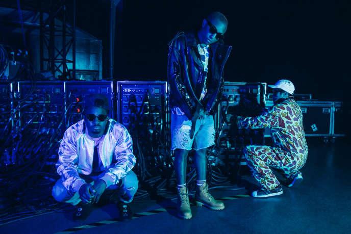 Le groupe N.E.R.D (de gauche à droite : Shay Haley, Pharrell Williams et Chad Hugo) à Los Angeles, à l'automne 2017.