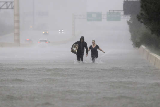 Le 27 août à Houston (Texas), après le passage d'Harvey.