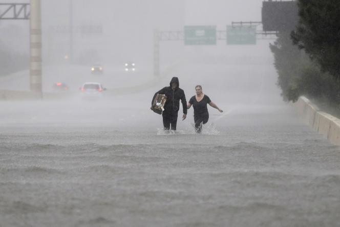 Le 27 août à Houston (Texas), après le passage d'Harvey.
