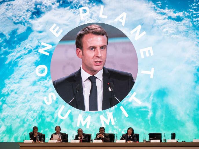 Emmanuel Macron, lors du sommet One Planet sur le climat, à Boulogne-Billancourt (Hauts-de-Seine), le 12 décembre.