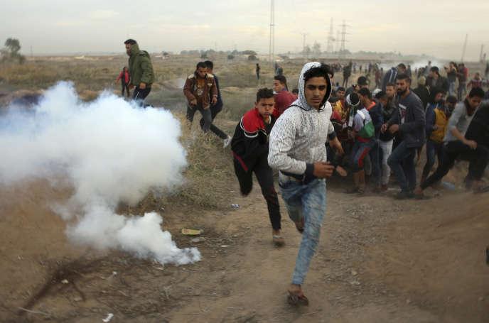 Manifestation palestinienne contre la reconnaissance de Jérusalem comme capitale d'Israël, à l'est de Gaza, le 12 décembre.