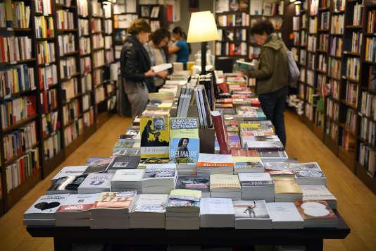 Des livres exposés dans la librairie LeFailler; à Rennes (Ille-et-Vilaine), en septembre 2017.
