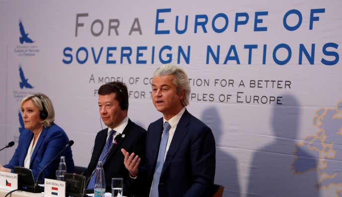 Marine Le Pen, Tomio Okamura, leader d'extrême droite tchèque et le Néerlandais Geert Wilders à Prague le 16 décembre.