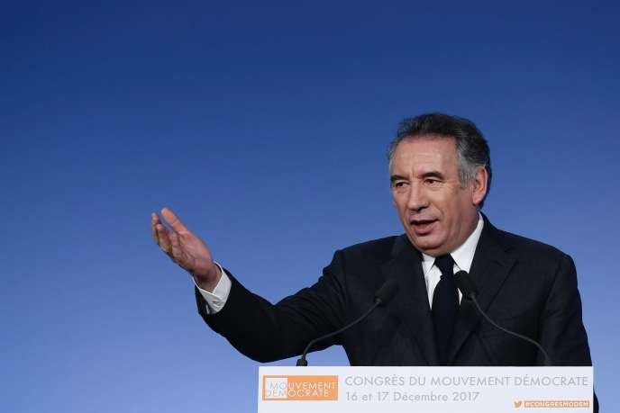 Le président du MoDem, François Bayrou, lors du congrès du parti centriste, à Paris, le 16 décembre.