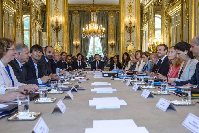 Réunion du conseil des ministres au palais de l'Elysée, le 22 juin.