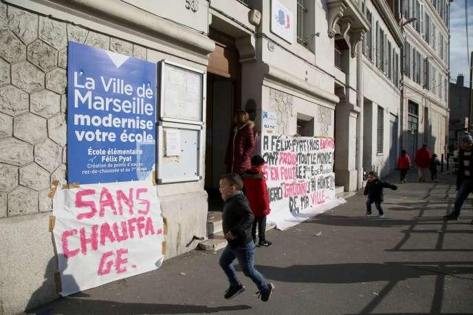 L'école marseillaise Félix-Pyat, le 19 janvier 2017, alors privée de chauffage depuis une semaine.