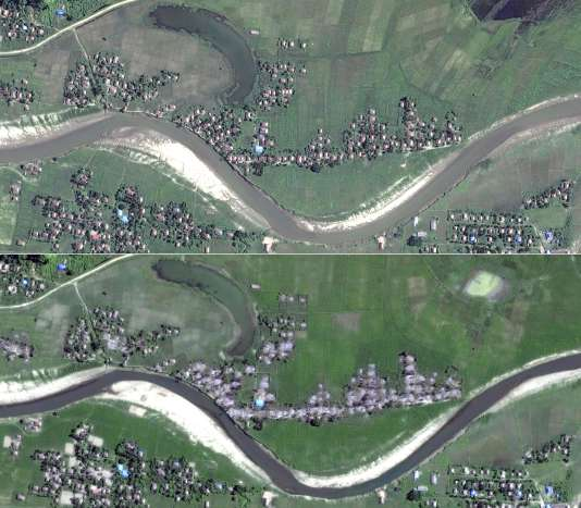Images satellites fournies par HRW montrant des villages rohingyadétruits par l'armée birmane.