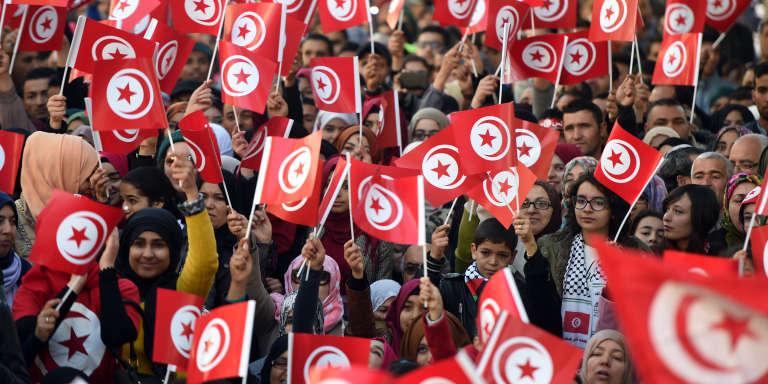 Rassemblement à Tunis pour le 5e anniversaire de la révolution, le 14 janvier 2016.