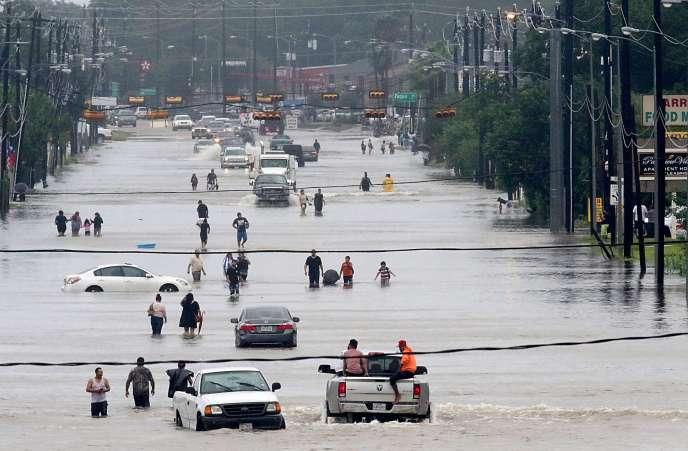 Houston, au Texas, le 27 août 2017, après le passage de l'ouragan Harvey.