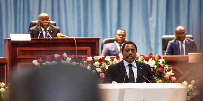 Le président congolais, Joseph Kabila, lors d'un discours à la nation, au palais du Peuple, siège du Parlement, le 5avril 2017, à Kinshasa.
