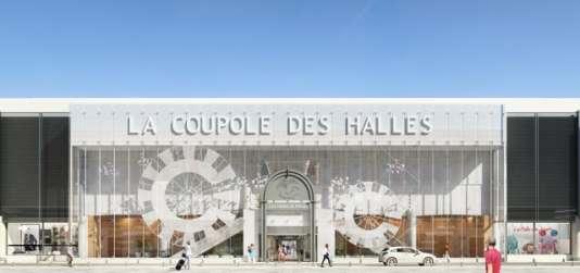 «Cette opération immobilière de taille participe au regain d'attractivité du cœur historique de la ville » (Vue frontale de La coupole des Halles à Nimes).