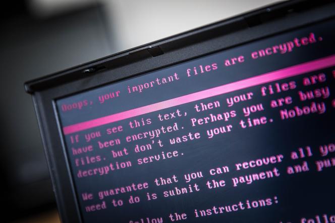 Un ordinateur infecté par un rançongiciel, lors d'une attaque planétairele 27 juin 2017.