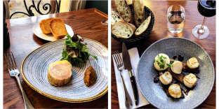 Foie gras de canard mi-cuit et saint-jacques aux endives braisées et jus de volaille à l'orange.