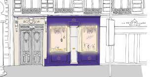 La façade ultraviolet du parfumeur Gellé Frère par Margaux Keller.