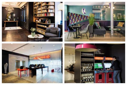 Coin café bibliothèque au SquareLouvois ;zone de travail partagé au BoB Hotel ; check-in sur ordinateur à l'Hôtel citizenM;jeux vidéo au RockyPop Hotel.