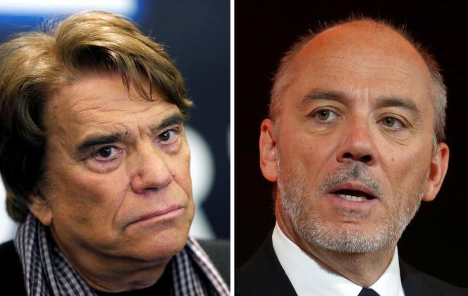 L'homme d'affaires Bernard Tapie, en mars 2014, et le patron d'Orange, Stéphane Richard, en février 2017.
