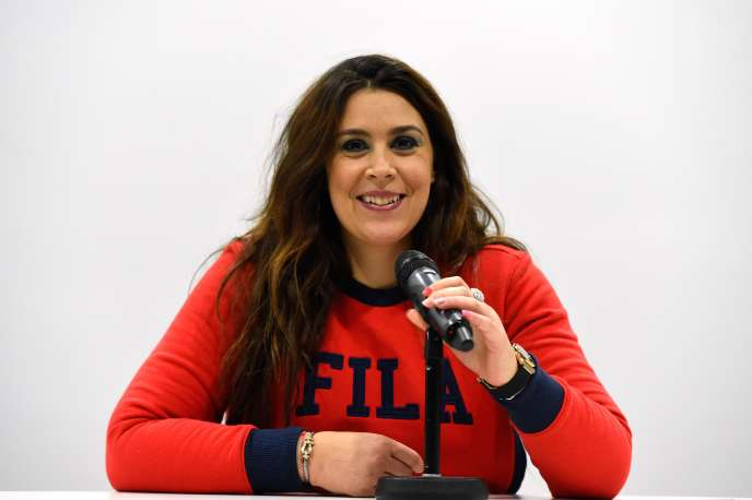 Marion Bartoli lors de la conférence de presse ayant suivi l'annonce de son retour.
