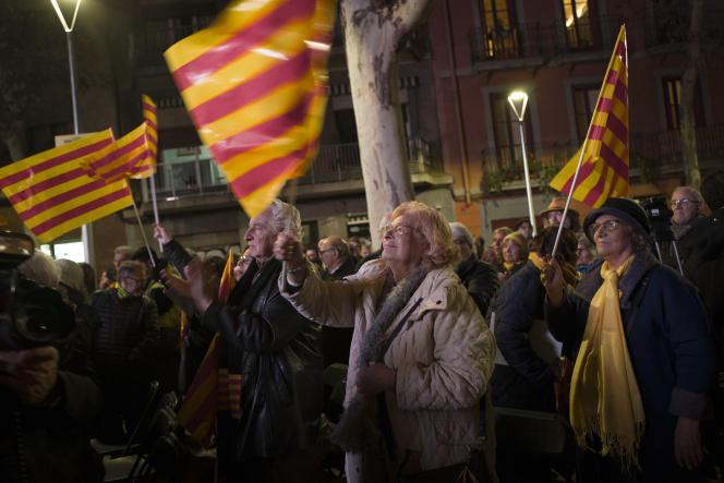 Le 19 décembre 2017, à Barcelone, lors du dernier meeting de campagne de la liste du president sortant Carles Puigdemont (Junts per Catalunya).