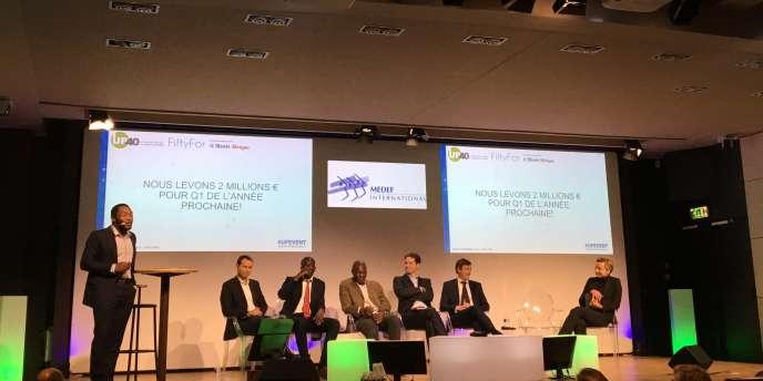 Des entrepreneurs français donnent une conférence Up Event, mardi 19 décembre 2018, au siège parisien du Medef.