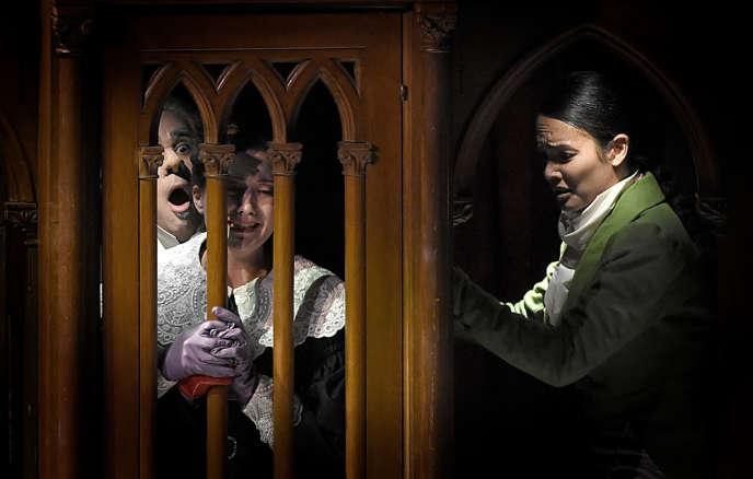 Philippe Talbot (le comte Ory), Julie Fuchs (la comtesse) et Gaëlle Arquez (Isolier) dans«Le Comte Ory», de Rossini, mis en scène parDenis Podalydès à l'Opéra-Comique à Paris, le 17 décembre 2017.