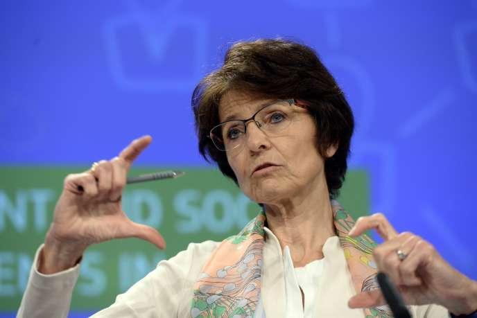 Marianne Thyssen, la commissaire à l'emploi et aux affaires sociales, à Bruxelles, le 17 juillet.