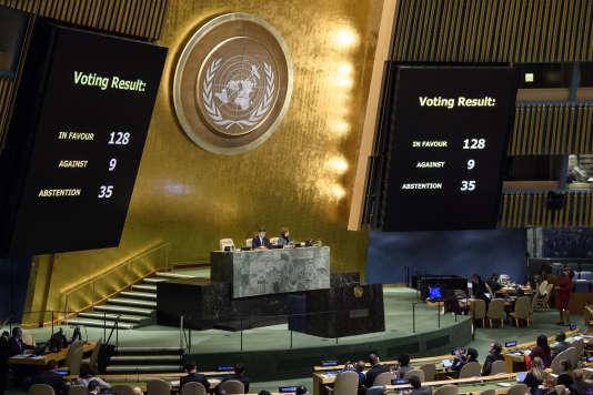 Lors du résultat du vote aux Nations Unies condamnant la décision de Donald Trump de reconnaître Jérusalem comme capitale d'Israël, à New York, le 21 décembre.