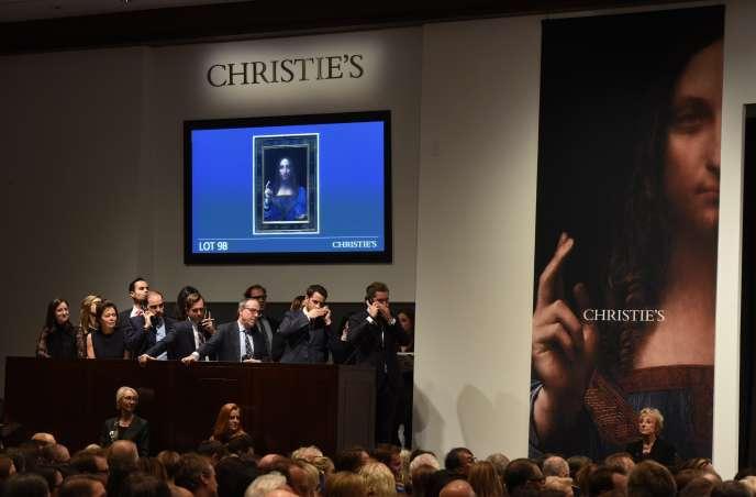 Vente du «Salvator Mundi» de Léonard de Vinci,chez Christie's à New York, le 15 novembre.
