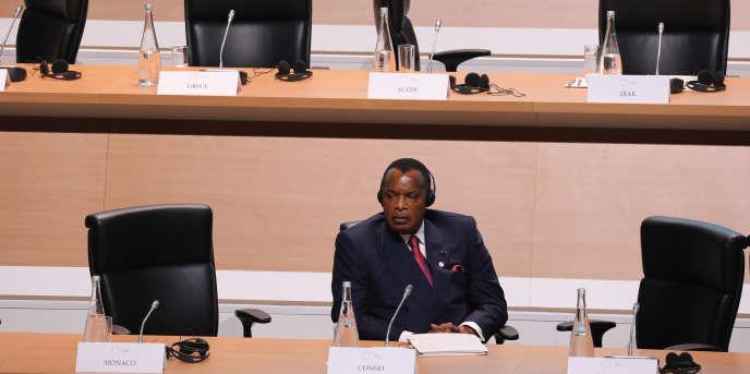 Le président du Congo-Brazzaville, Denis Sassou-Nguesso, au One Planet Summit, à Paris, le 12décembre 2017.