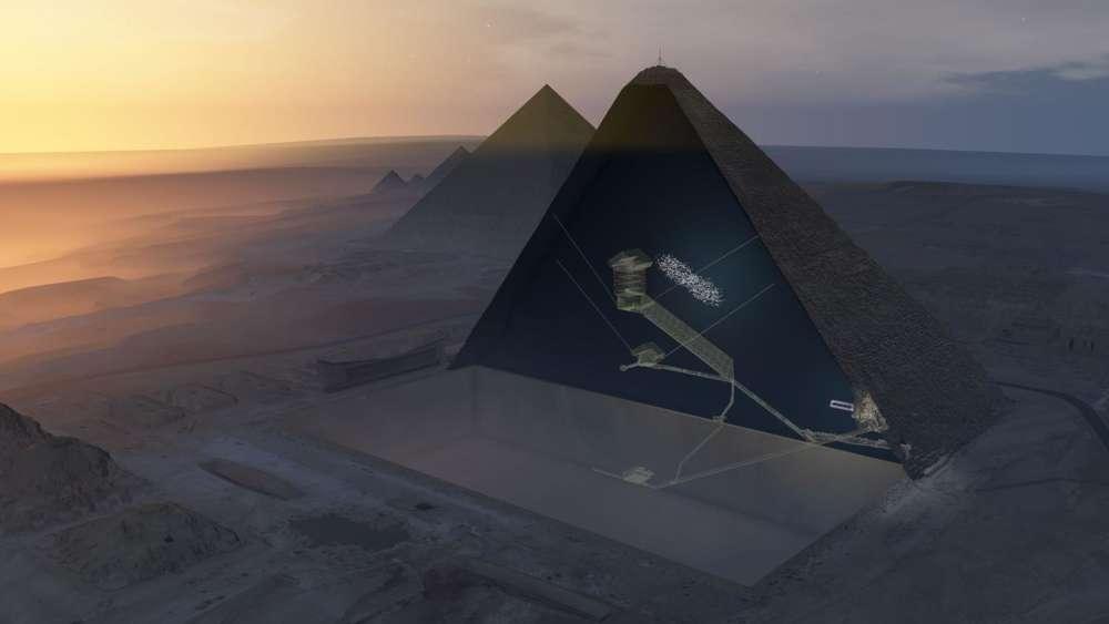 Après avoir recueilli, pendant deux ans, les muons – des particules électriquement chargées nées de la collision entre des rayons cosmiques et les atomes de l'atmosphère – ayant traversé la pyramide de Khéops, un consortium rassemblant des chercheurs japonais, français et égyptiens a rendu son verdict dans Nature le 2novembre. La plus grande des pyramides du plateau de Gizeh, vieille de 45 siècles, contient un vide de bonne taille: une cavité longue d'au moins 30 mètres, située au-dessus de la grande galerie et plus ou moins parallèle à celle-ci. Reste désormais aux égyptologues à comprendre la fonction de cet espace vide. ScanPyramidsMission