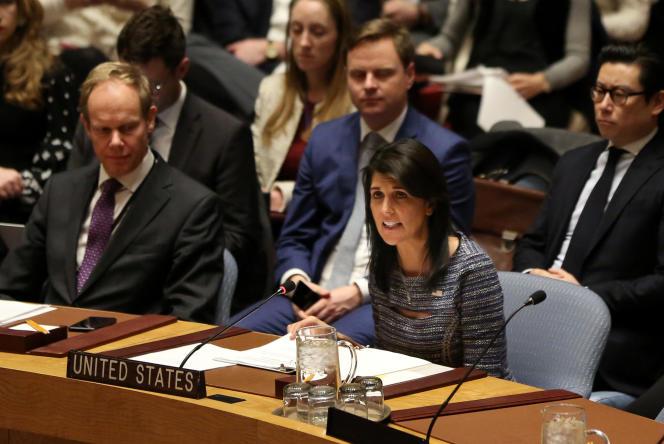 L'ambassadrice des Etats-Unis aux Nations unies,Nikki Haley, à New York, le 22 décembre.
