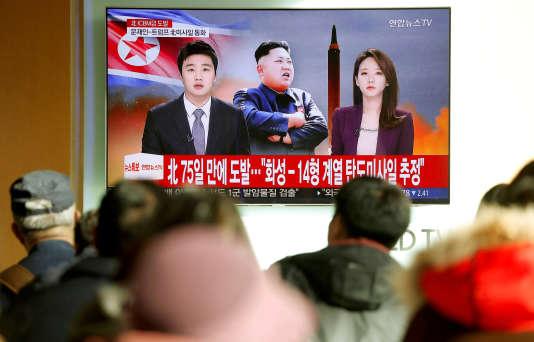 Lors du dernier tir d'un missile intercontinental par la Corée du Nord, le 29 novembre.