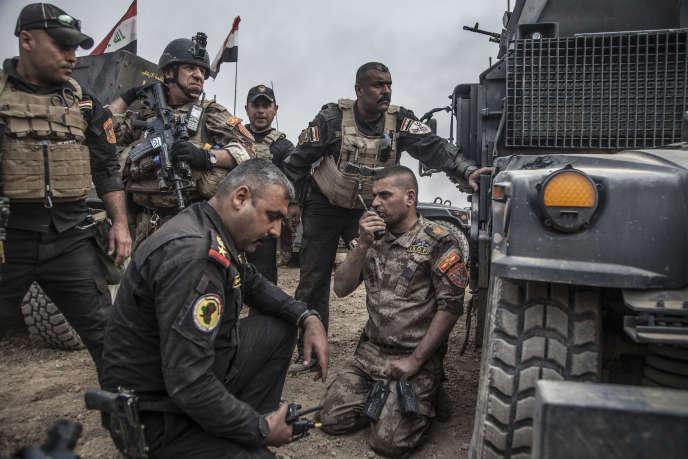 Des éléments de la Division d'or, le 26 octobre 2016, au début de la bataille de Mossoul.