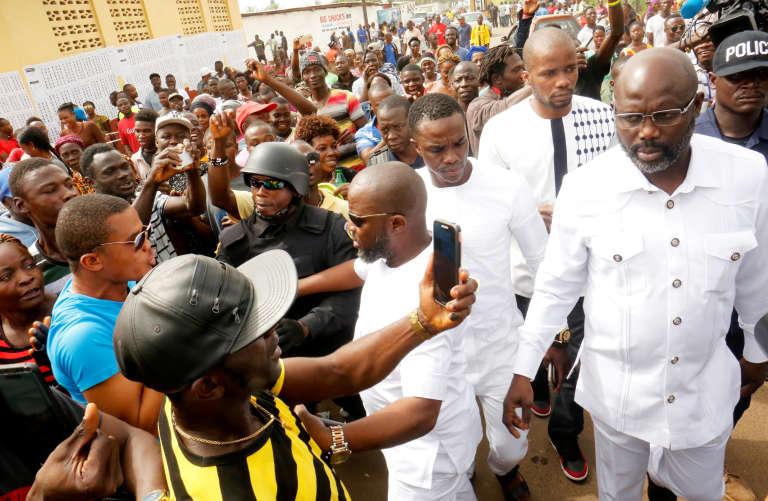 L'ancien footballeur etcandidat à la présidentielle, George Weah, à Monrovia, le 26 décembre.