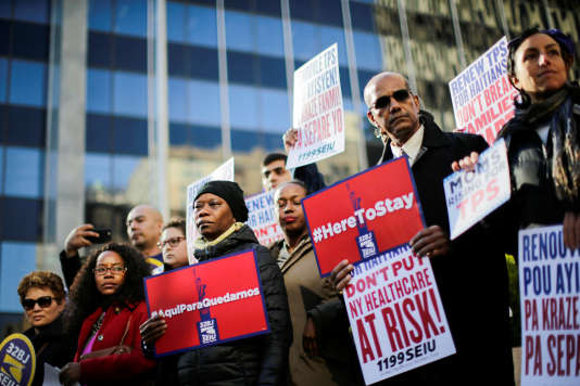 Manifestation d'immigrés haïtiens contre l'abrogation du TPS, à Manhattan, le 21 novembre.