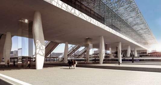 Projet de la future gare de Nantes, dessiné par l'architecte Rudy Ricciotti.