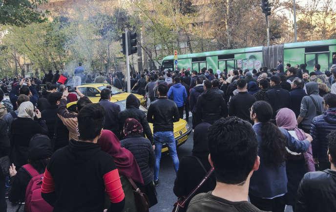 Manifestation à Téhéran, le 30 décembre 2017.