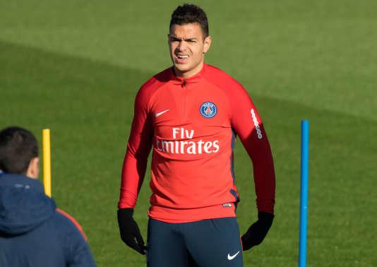 Hatem Ben Arfa, lors d'un entrainement, àSaint-Germain-en-Laye, le 16 novembre 2017.