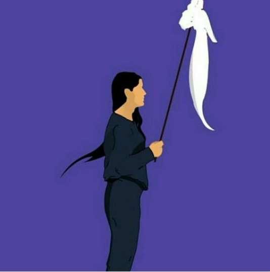 Dessin issu de l'image d'une jeune fille retirant son voile à Téhéran publiée sur la page Facebook de la militante Masih Alinejad jeudi 28 décembre.