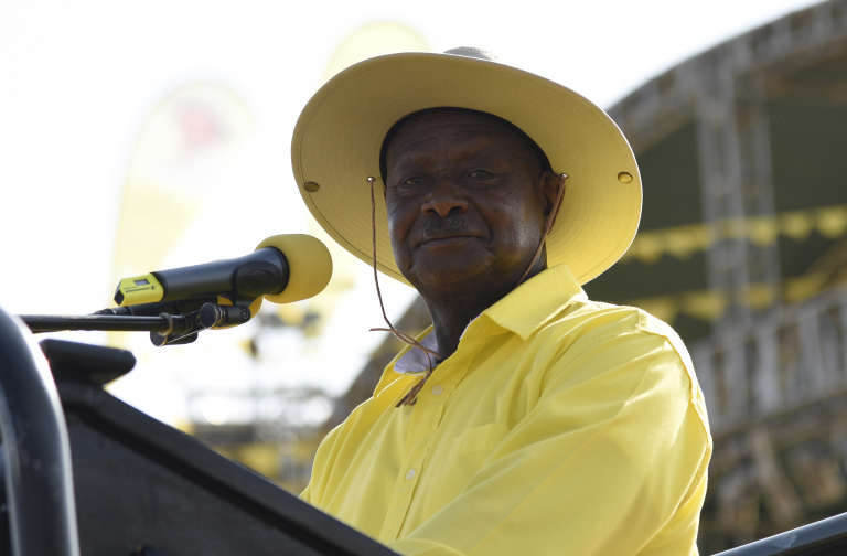 Le président ougandais Yoweri Museveni en février 2016 lors d'un meeting de son parti, le Mouvement de résistance nationale (NRM), à Kampala.