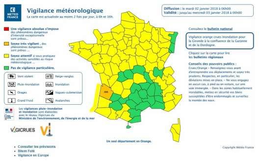 La carte des vigilance de Météo France, mardi 2 janvier 2017, à 6 heures.
