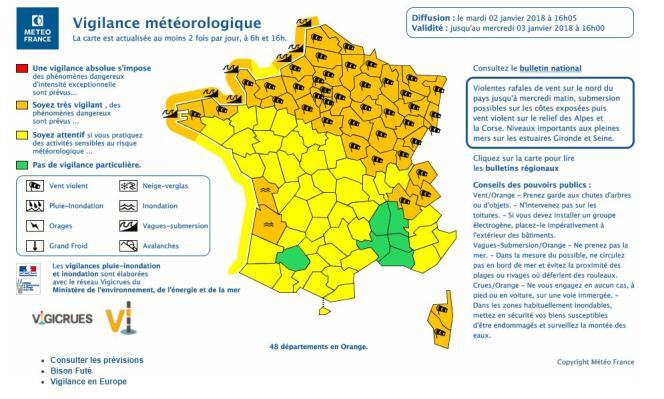 Capture d'écran du site Météo France.