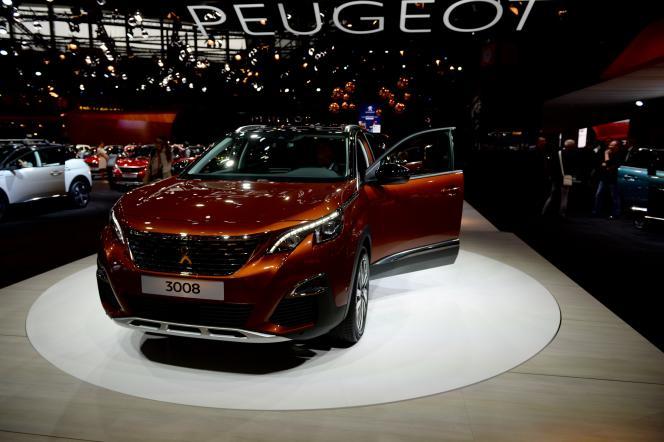 La Peugeot 3008, présentée au Mondial de l'automobile à Paris, en septembre 2016. PSA a été le constructeur français le plus en forme en 2017.