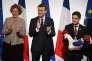 Emmanuel Macron lors d'une réception au palais de l'Elysée de l'équipe de France des métiers, le 21 décembre 2017.