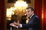 Emmanuel Macron a évoqué une future loi contre les « fake news» lors de ses voeux à la presse, le 3 janvier, à l'Elysée, à Paris.