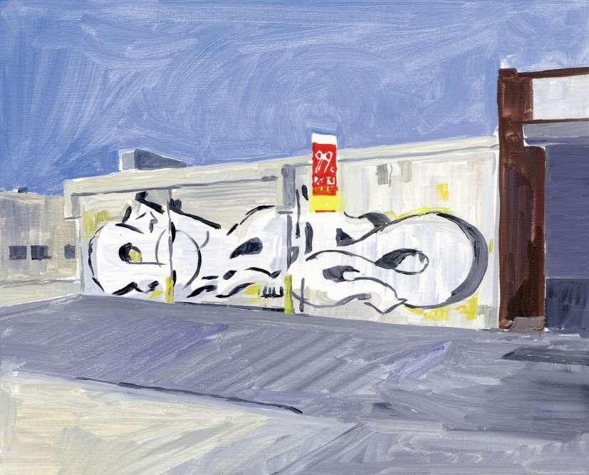 «Chinese 99 Cents, Bushwick».« Au début des années 1980, le street art new-yorkais me semblait la forme de peinture la plus forte : quel tableau pouvait rivaliser avec un métro peint se déplaçant dans le paysage urbain ? «I wanted my name to travel everywhere» déclarait un artiste lors d'une interview. Le fait de publier des illustrations dans les magazines, ou sur des affiches, me semblait être équivalent à une musique diffusée à la radio et qui pouvait ainsi être captée au gré du hasard. »