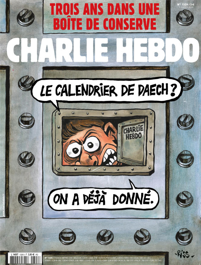 La «une» de «Charlie Hebdo» à l'occasion des trois ans de la tuerie, le 7 janvier 2015.