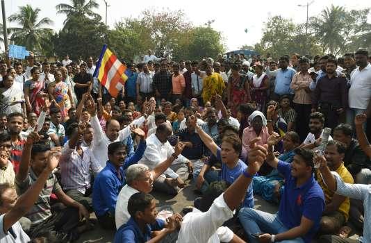 Manifestation à Bombay, le 3 janvier 2018, après la mort d'un «dalit».