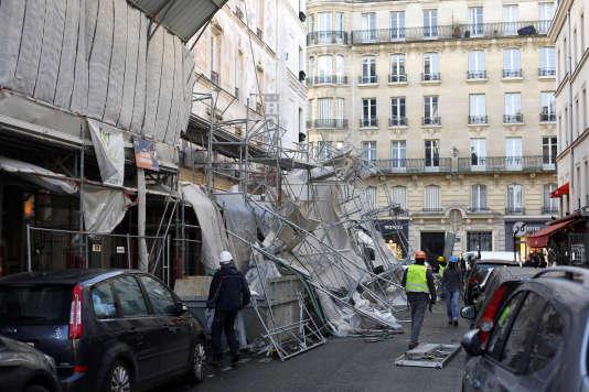 Dégâts dus à la tempête Eleanor dans le 17earrondissement de Paris, le 3 janvier.