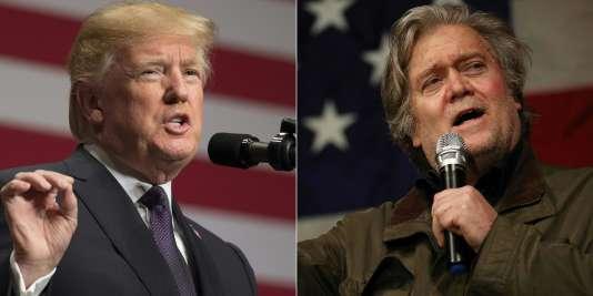 Donald Trump (à gauche) et Steve Bannon (à droite), en décembre 2017.